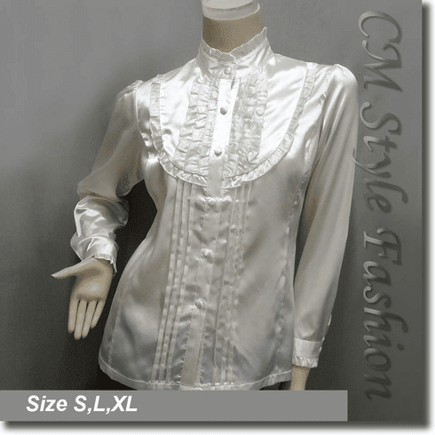 Victorian Style Ruffled Satin Elegant Blouse Shirt Top Cream