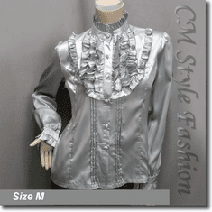 Victorian Style Ruffled Satin Elegant Blouse Shirt Top Gray