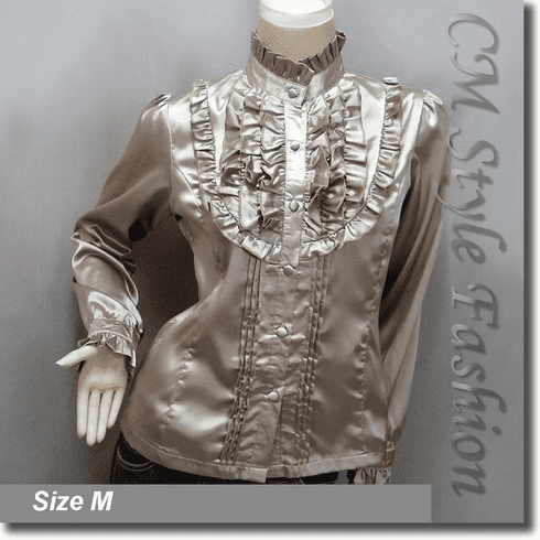 Victorian Style Ruffled Satin Elegant Blouse Shirt Top Khaki Brown