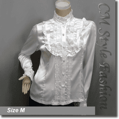 Victorian Style Ruffled Satin Elegant Blouse Shirt Top Off White