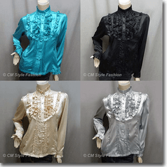 Victorian Style Ruffled Satin Elegant Blouse Shirt Top Series