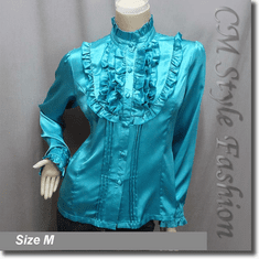 Victorian Style Ruffled Satin Elegant Blouse Shirt Top Turquoise Blue