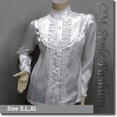 Victorian Style Ruffled Satin Elegant Blouse Shirt Top White