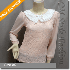 White Ruffled Collar Lace Princess Boho Blouse Top Pink