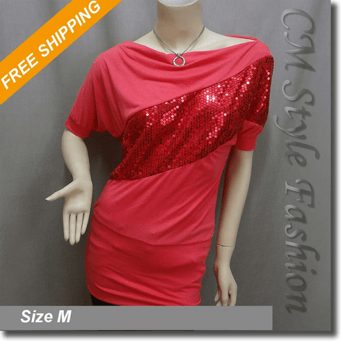 Wide Neckline Sequined Tunic Top Red