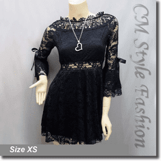 Wide Neckline Sexy Lace Ruffle Little Dress Top Black