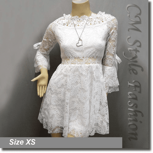 Wide Neckline Sexy Lace Ruffle Little Dress Top White