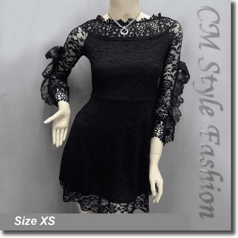 Wide Neckline Sexy Lace Ruffled Little Dress Top Black