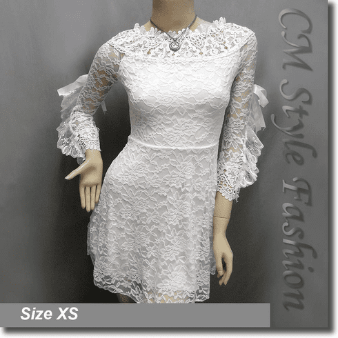 Wide Neckline Sexy Lace Ruffled Little Dress Top White