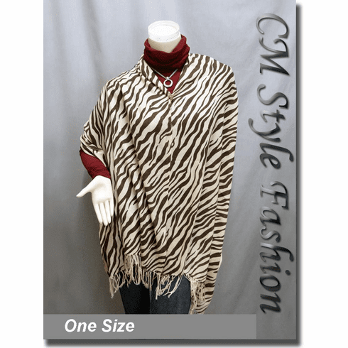 Zebra Tiger Animal Print Scarf Shawl Wrap Beige Brown