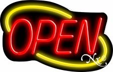 Yellow and Red Neon Open Sign-Deco Style - Assembled in the U.S.A