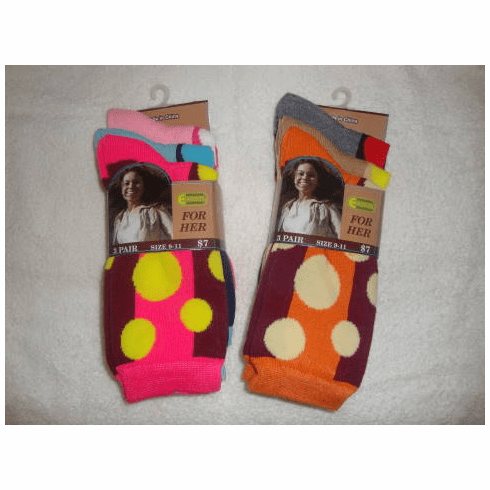 3 Pair Package Excell Ladies Polka Dot Crew Socks