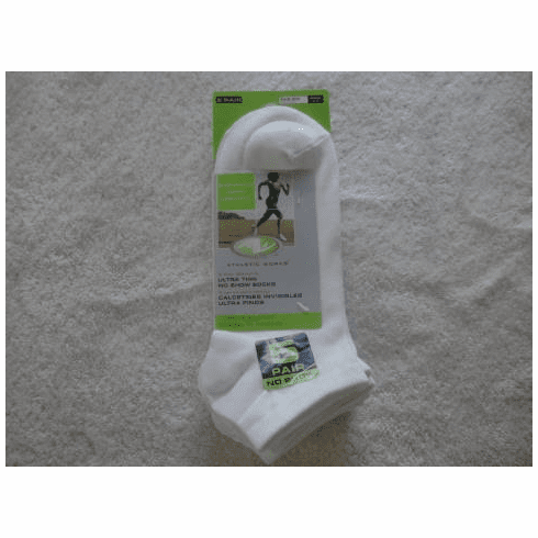 Athletic Works Ladies Ultra Thin No Show  Socks (5 Pr Pks)