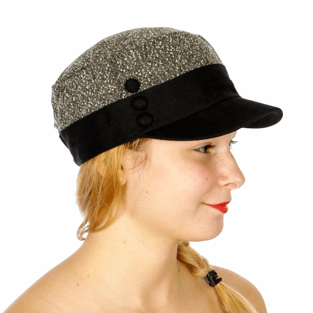 Chic two tone cadet hat w/ three buttons