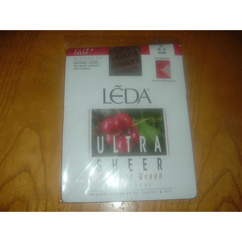 Leda Ultra Sheer Ex-Large Queen Pantyhose w/Reinforced Toe