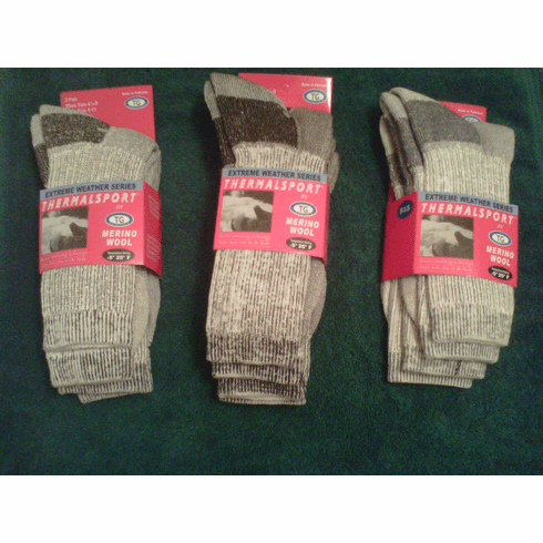 Merino Wool Thermalsport Crew Socks By TG (2-Pair Pack)
