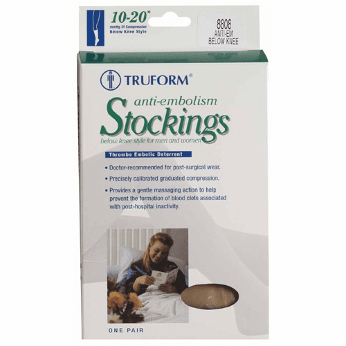 Truform Anti-Embolism Stocking, Below Knee Closed Toe Style (10-20mm)(While Supplies Last!)