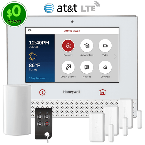 $0-Down Honeywell Lyric Controller Cellular AT&T LTE Wireless Security System Kit