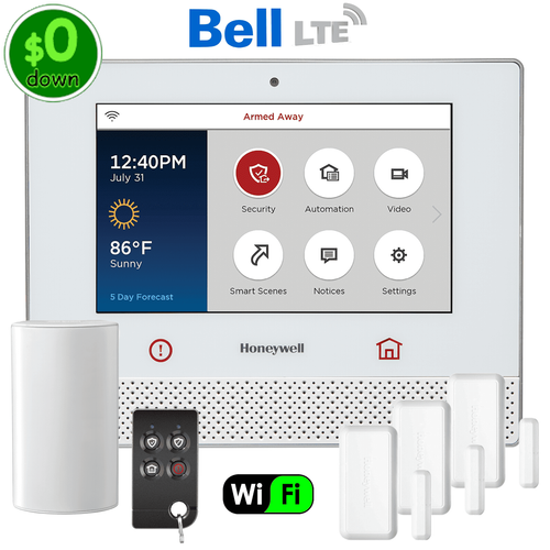 $0-Down Honeywell Lyric Controller Dual-Path (WiFi & Bell LTE) Wireless Security System Kit