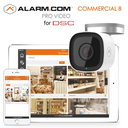 DSC Commercial Business Video 8 Cameras Surveillance Services (Powered by Alarm.com)