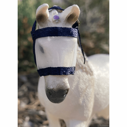 Fly Mask for Adult Horses  - Navy Blue