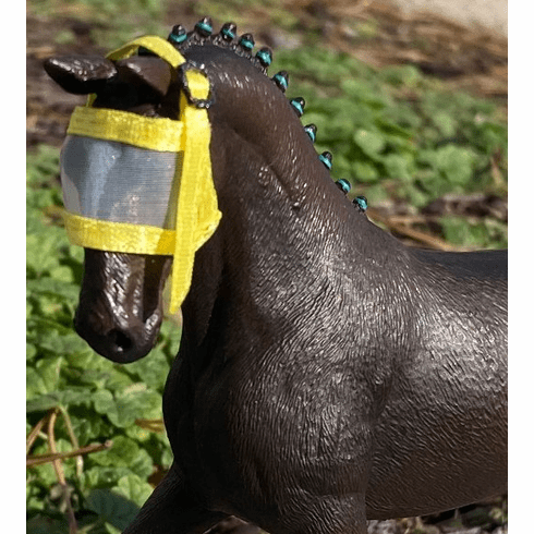 Fly Mask for Adult Horses  - Yellow