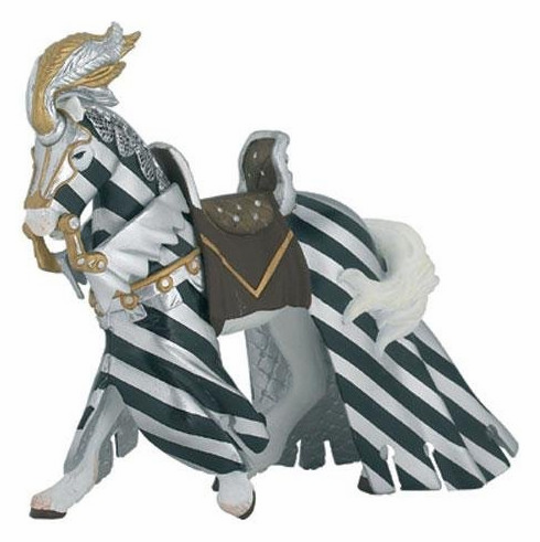 Papo - Draped Tournament Horse - Silver and Black