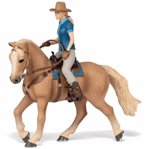 Papo - Wild West Horse with Cowgirl