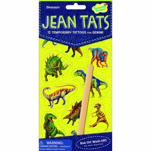 Peaceable Kingdom Jean Tats Dinosaurs Temporary Tattoos for Fabric