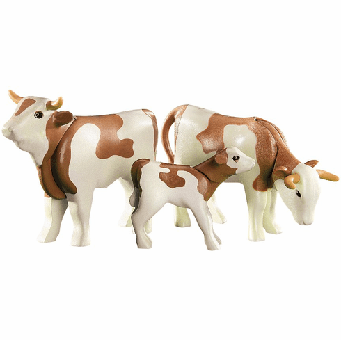 Playmobil - Brown and White Cow Family