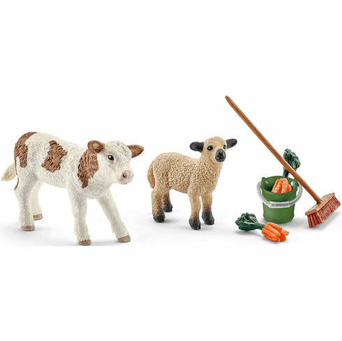 Schleich - Stable Cleaning Kit w/ Calf & Lamb