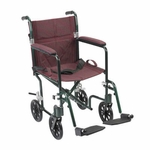 Drive Medical 17 inch Flyweight Lightweight Burgundy Transport Wheelchair fw17bg