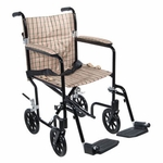 Drive Medical 17 inch Flyweight Lightweight Tan Plaid Transport Wheelchair fw17db