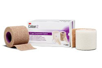 2 Layer Compression Bandage System 3M Coban 2 Inch X 1-3/10 Yard / 2 Inch X 3 Yard 35 - 40 mmHg Self-adherent Closure Tan / White NonSterile