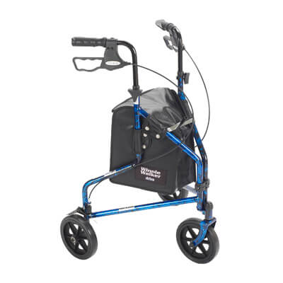 Drive Medical 3 Wheel Flame Blue Rollator Walker with Basket Tray and Pouch 10289bl
