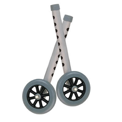 Drive Medical 5 inch Gray Walker Wheels with Two Sets of Rear Glides for Use with Universal Walker 10128