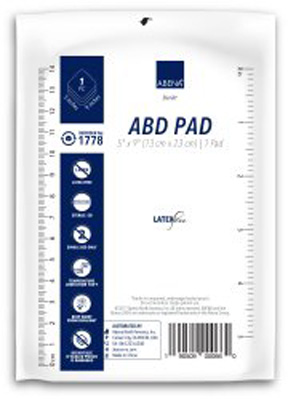 Abena Abdominal Pad Cellulose / Nonwoven 5 X 9 Inch Rectangle Sterile - 1778 - Case of 400