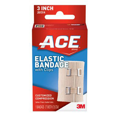 ACE Elastic Bandage, Compression 3 in With Clip (72/Bx)