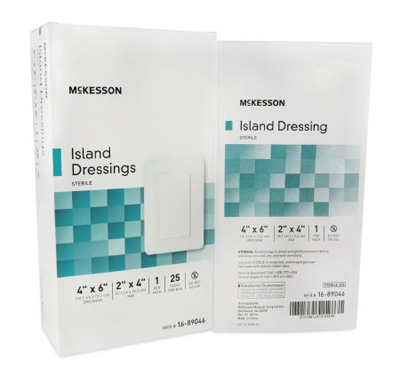 Adhesive Dressing McKesson 4 X 6 Inch Polypropylene / Rayon Rectangle White Sterile