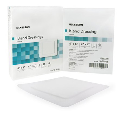 Adhesive Dressing McKesson 6 X 6 Inch Polypropylene / Rayon Square White Sterile