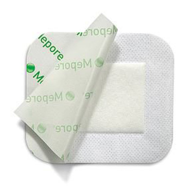 Adhesive Dressing Mepore 3.6 X 4 Inch Nonwoven Spunlace Polyester Rectangle White Sterile