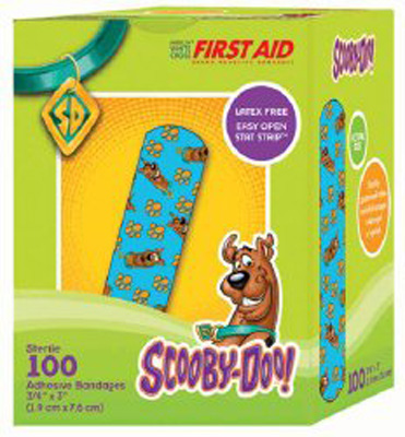 Adhesive Strip American White Cross First Aid .75 X 3 Inch Plastic Rectangle Kid Design (Scooby Doo) Sterile