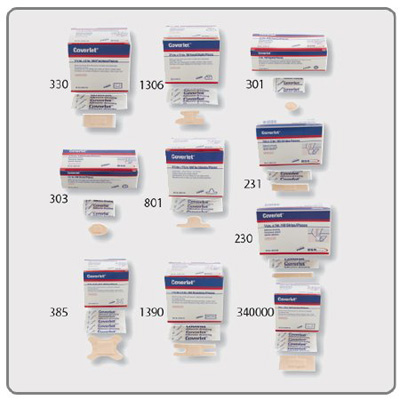 Coverlet Adhesive Strip 3/4 X 3 Inch Fabric Rectangle Tan Sterile - Case of 1200