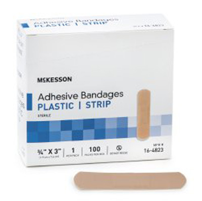 Adhesive Strip McKesson 0.75 X 3 Inch Plastic Rectangle Tan Sterile