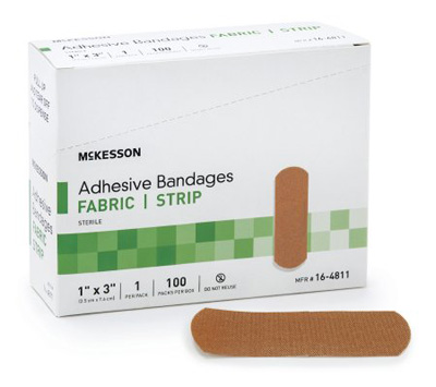 Adhesive Strip McKesson 1 X 3 Inch Fabric Rectangle Tan Sterile