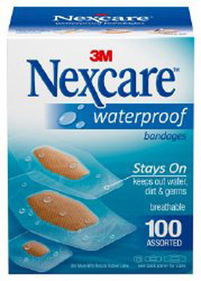 Adhesive Strip Nexcare Waterproof Assorted Sizes Clear / Tan