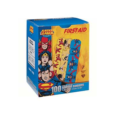 Adhesive Strip Stat Strip .75 X 3 Inch Plastic Rectangle Kid Design (Superman / Wonder Woman) Sterile