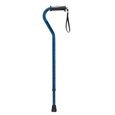 Drive Medical Adjustable Height Offset Handle Blue Crackle Cane with Gel Hand Grip rtl10372bc