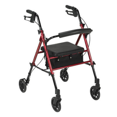 Drive Medical Adjustable Height Red Rollator with 6 inch Wheels Model rtl10261rd