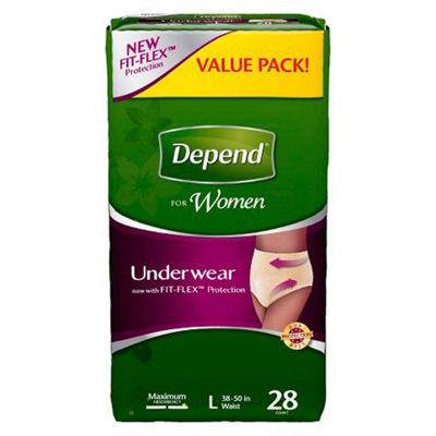Depend Pull On Adult Absorbent Underwear Large Disposable Heavy Absorbency - Case of 56